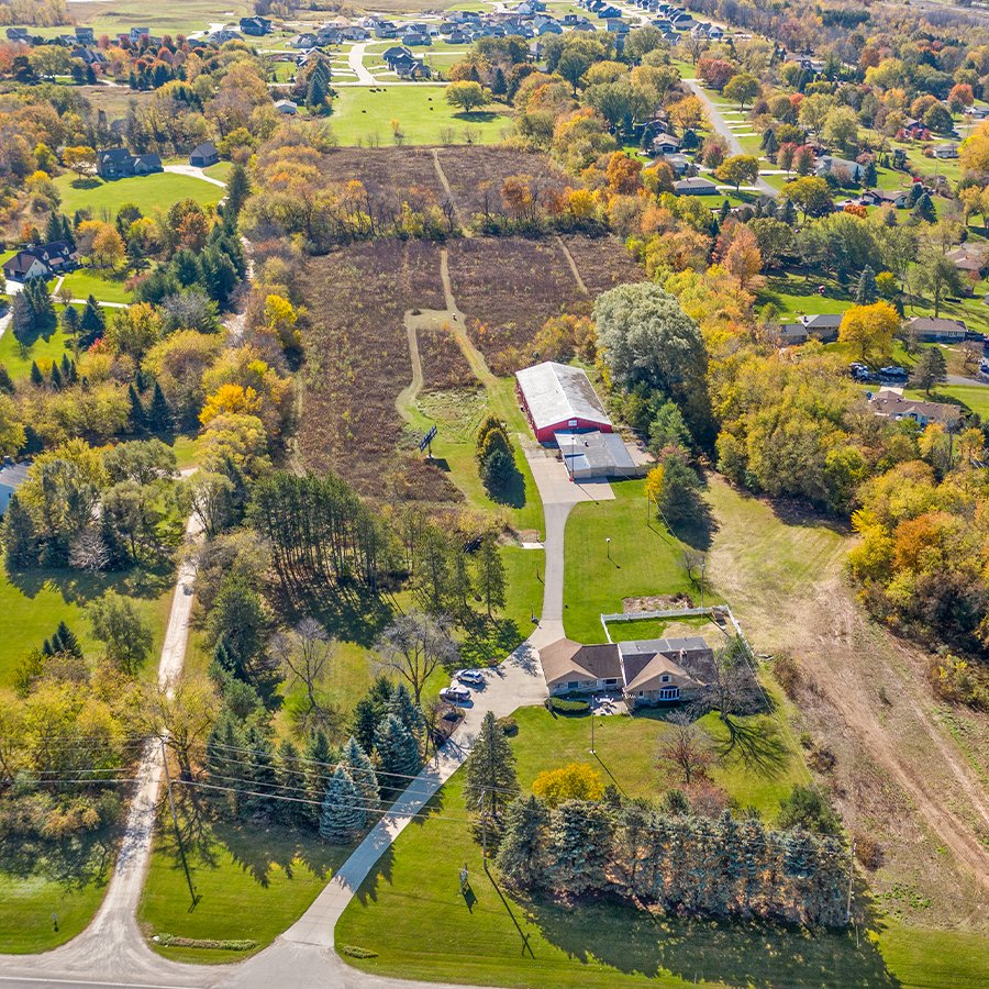 aerial view of red wing kennels dog cat boarding in sussex wisconsin